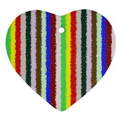 Vivid Colors Curly Stripes - 2 Heart Ornament