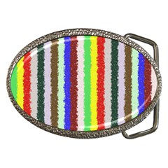 Vivid Colors Curly Stripes - 2 Belt Buckle (Oval)