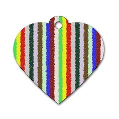 Vivid Colors Curly Stripes - 2 Dog Tag Heart (Two Sided)