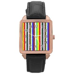 Vivid Colors Curly Stripes - 2 Rose Gold Leather Watch