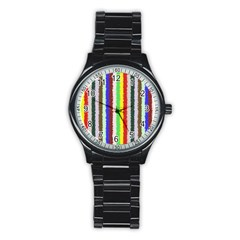 Vivid Colors Curly Stripes - 2 Sport Metal Watch (Black)