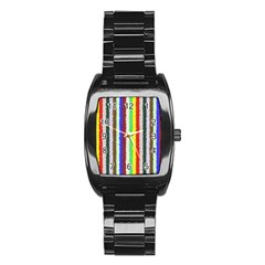 Vivid Colors Curly Stripes   2 Stainless Steel Barrel Watch