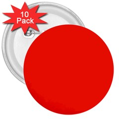 Bright Red 3  Button (10 Pack)