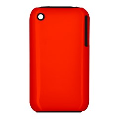 Bright Red Apple Iphone 3g/3gs Hardshell Case (pc+silicone)