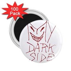 My Dark Side Typographic Design 2 25  Button Magnet (100 Pack)