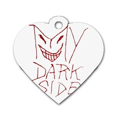 My Dark Side Typographic Design Dog Tag Heart (Two Sided)