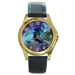 Catch A Falling Star Round Leather Watch (gold Rim)