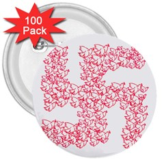 Swastika With Birds Of Peace Symbol 3  Button (100 pack)