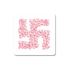 Swastika With Birds Of Peace Symbol Magnet (square)