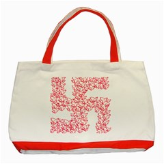Swastika With Birds Of Peace Symbol Classic Tote Bag (Red)