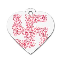 Swastika With Birds Of Peace Symbol Dog Tag Heart (One Sided)