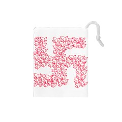 Swastika With Birds Of Peace Symbol Drawstring Pouch (Small)