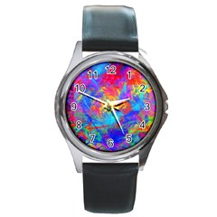 Colour Chaos  Round Leather Watch (silver Rim)