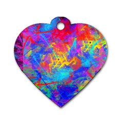 Colour Chaos  Dog Tag Heart (one Sided)