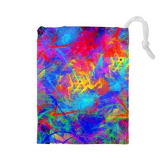 Colour Chaos  Drawstring Pouch (large)