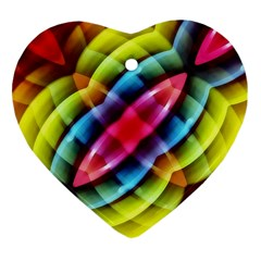 Multicolored Abstract Pattern Print Heart Ornament