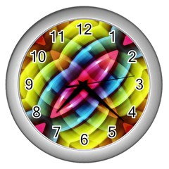 Multicolored Abstract Pattern Print Wall Clock (silver)