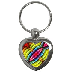 Multicolored Abstract Pattern Print Key Chain (heart)
