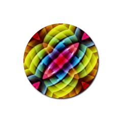 Multicolored Abstract Pattern Print Drink Coasters 4 Pack (round)