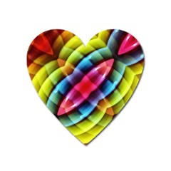 Multicolored Abstract Pattern Print Magnet (heart)
