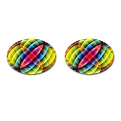 Multicolored Abstract Pattern Print Cufflinks (oval)