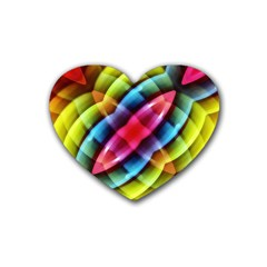 Multicolored Abstract Pattern Print Drink Coasters 4 Pack (Heart)