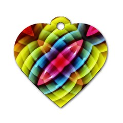 Multicolored Abstract Pattern Print Dog Tag Heart (One Sided)