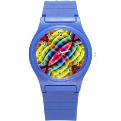 Multicolored Abstract Pattern Print Plastic Sport Watch (small)
