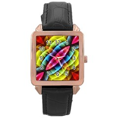 Multicolored Abstract Pattern Print Rose Gold Leather Watch