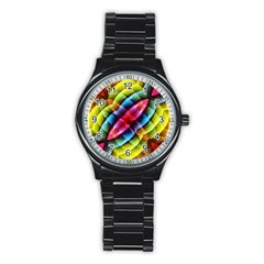 Multicolored Abstract Pattern Print Sport Metal Watch (black)