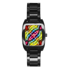 Multicolored Abstract Pattern Print Stainless Steel Barrel Watch
