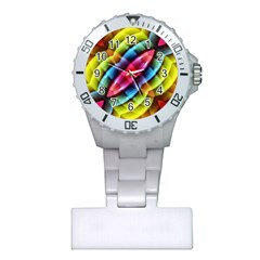 Multicolored Abstract Pattern Print Nurses Watch