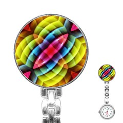 Multicolored Abstract Pattern Print Stainless Steel Nurses Watch