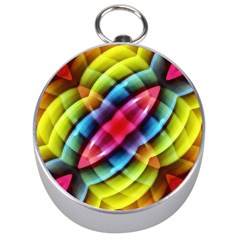 Multicolored Abstract Pattern Print Silver Compass