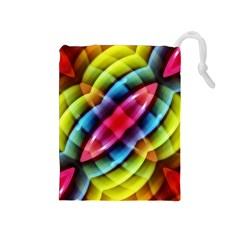 Multicolored Abstract Pattern Print Drawstring Pouch (Medium)