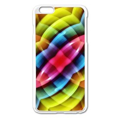 Multicolored Abstract Pattern Print Apple iPhone 6 Plus Enamel White Case