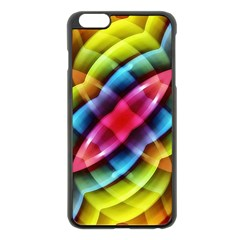 Multicolored Abstract Pattern Print Apple iPhone 6 Plus Black Enamel Case