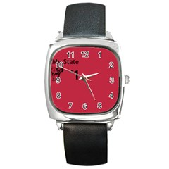 State Champ  Square Leather Watch