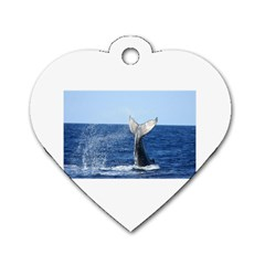 Humpback Whale Tail 2 Dog Tag Heart (Two Sided)