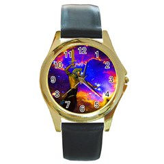 Star Fighter Round Leather Watch (gold Rim)