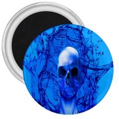 Alien Blue 3  Button Magnet