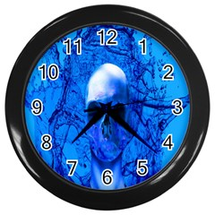 Alien Blue Wall Clock (black)