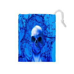 Alien Blue Drawstring Pouch (medium)