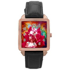 Star Flower Rose Gold Leather Watch