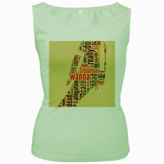 Michael Jackson Typography They Dont Care About Us Women s Tank Top (Green)