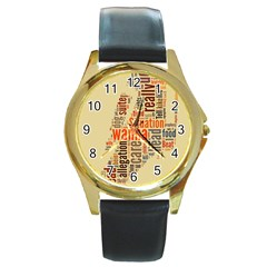 Michael Jackson Typography They Dont Care About Us Round Leather Watch (gold Rim)
