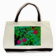 Rose Bush Twin-sided Black Tote Bag