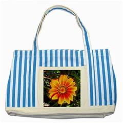 Flower In A Parking Lot Blue Striped Tote Bag