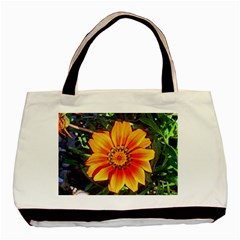 Flower In A Parking Lot Twin-sided Black Tote Bag
