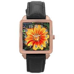 Flower In A Parking Lot Rose Gold Leather Watch